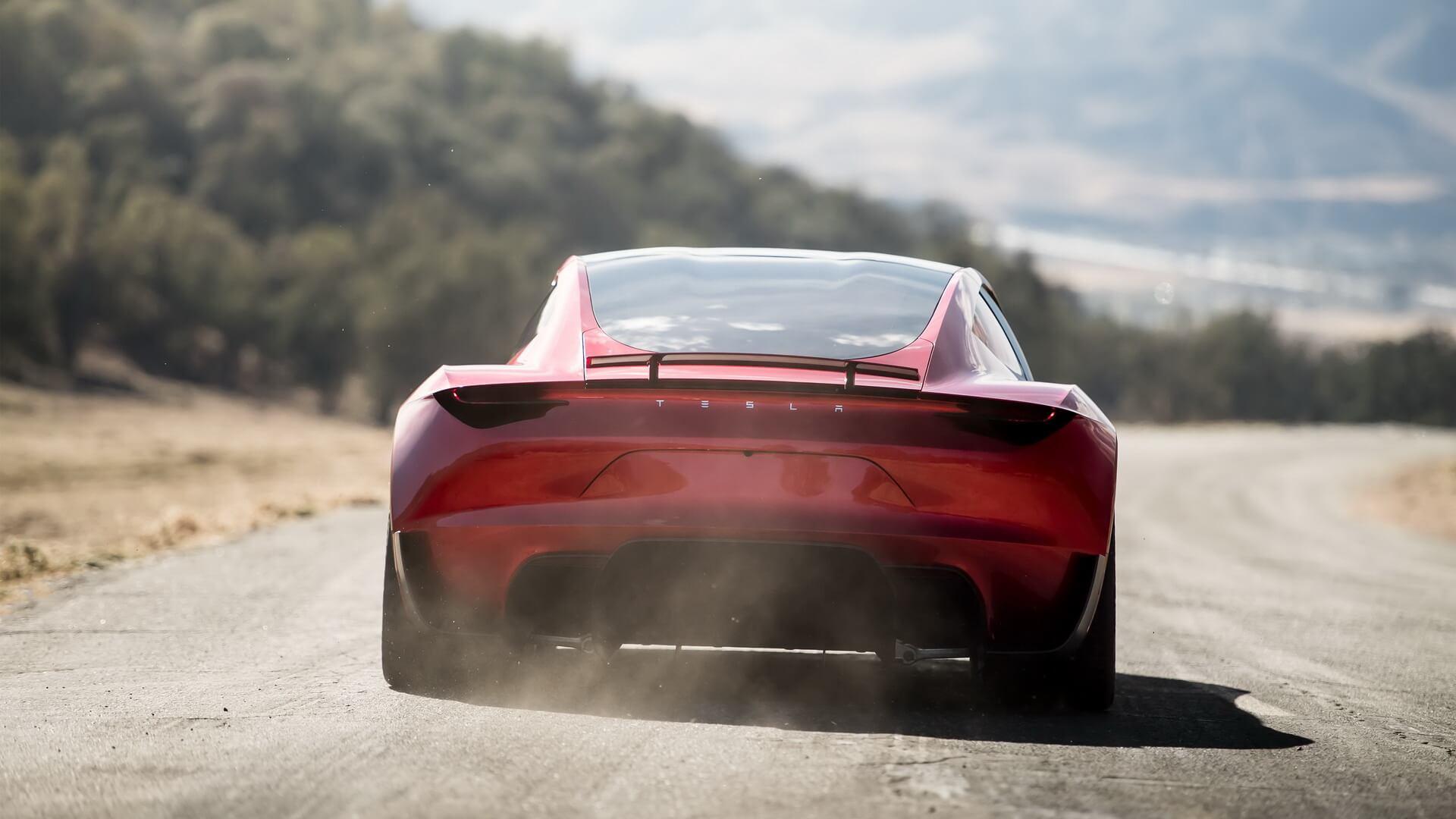 Електрокар Tesla Roaster 2 — вид ззаду