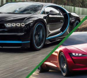 Tesla Roadster проти Bugatti Chiron