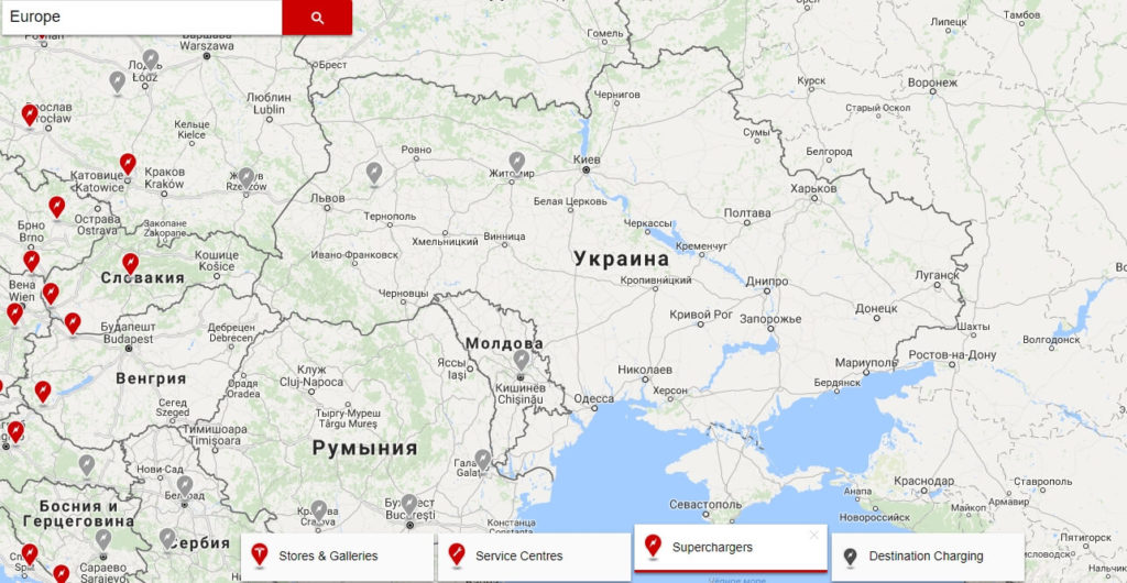 Tesla Supercharger натериторії України в2017 році