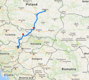 Приклад побудованого марштуру подорожі від Варшави до Відня