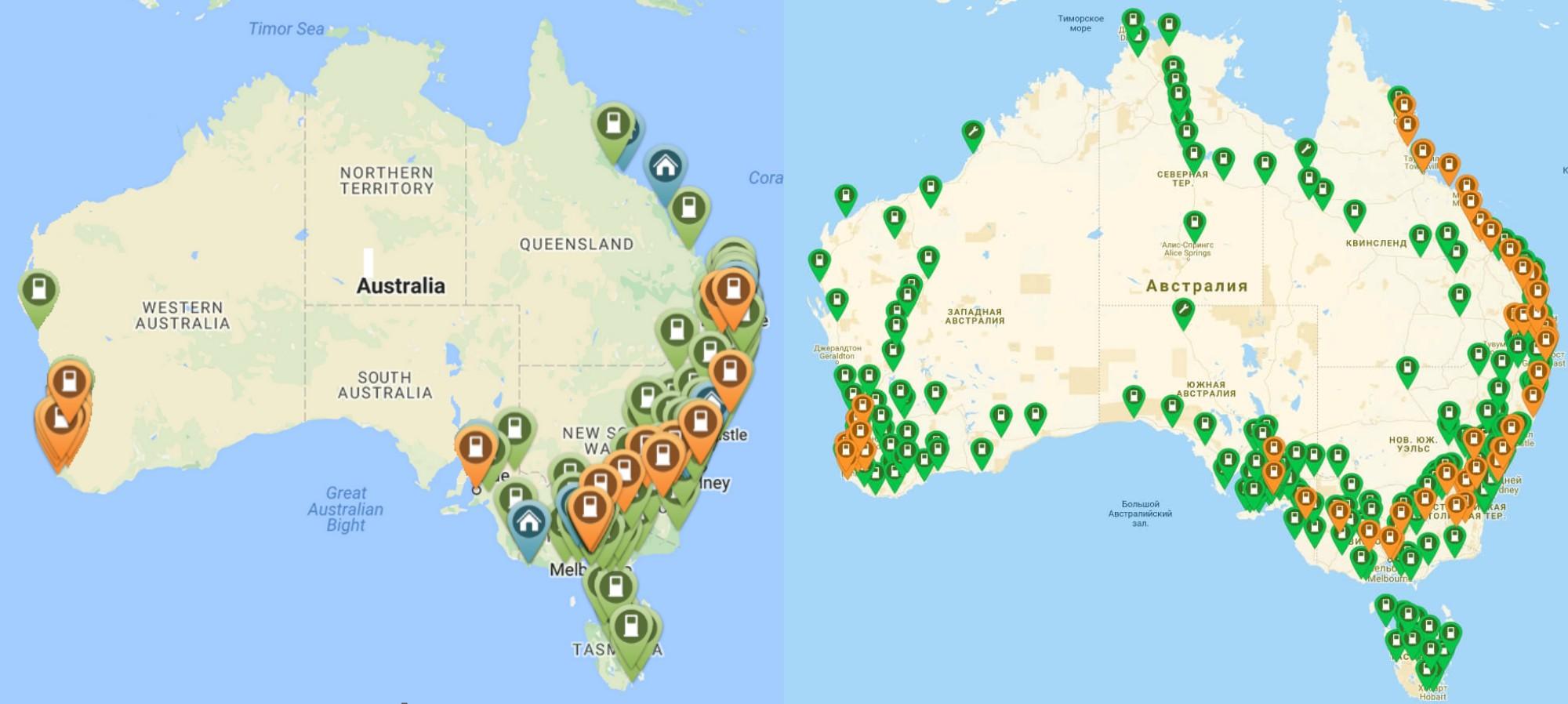 Мережа зарядних станцій на2016і 2018 року вАвстралії