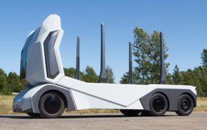 Повністю електрична автономна вантажівка T/log - вид збоку