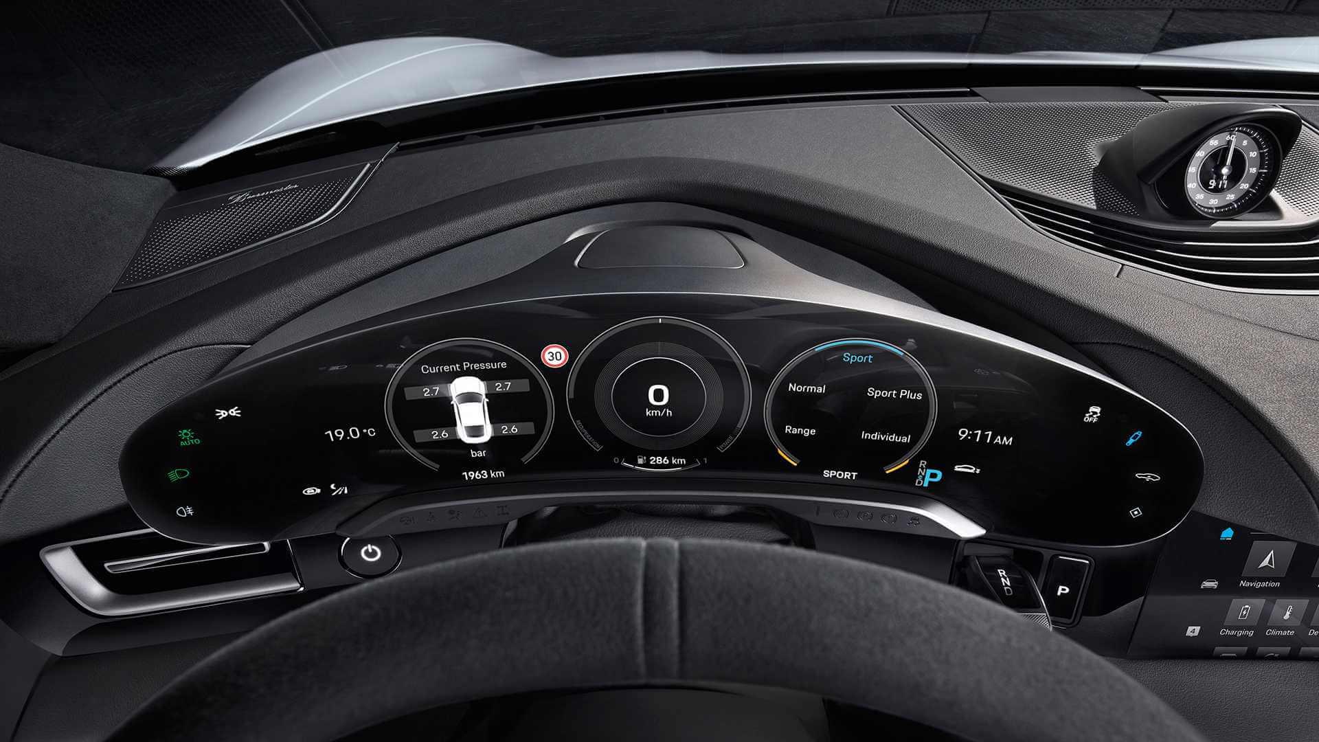 Приладова панель електромобіля Porsche Taycan