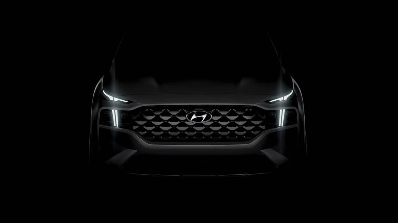 Новий Hyundai Santa Fe отримає нову комбіновану решітку радіатору ісвітлодіодні денні ходові вогні