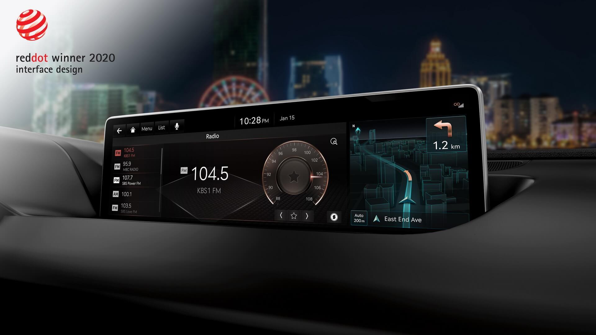 Genesis здобув перемогу вномінації «Інтерфейс ідизайн» завбудовану інформаційно-розважальну систему автомобілів